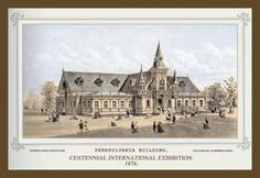 Centennial international exhibition 1876 - pennsylvania building 28x42 giclee on canvas