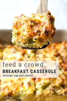 a brunch idea to feed a crowd? Make this easy Sausage and Egg Breakfast Casserole. This make ahead breakfast recipe is so easy and can be prepped the night before. Everyone will want a slice of this cheesy sausage and egg breakfast casserole. Recipe on . Overnight Breakfast Casserole, Brunch Casserole, Breakfast Casserole Sausage, Casserole Recipes, Baked Egg Casserole, Pioneer Woman Breakfast Casserole, Overnight Egg Bake, Christmas Breakfast Casserole, Best Sausage