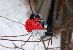 """Купить Брошь """"Зимний гость"""" - брошь, снегирь, птица, зима, украшение на каждый день, на праздник"""