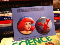 The little mermaid and sebastian  - Pin Back Buttons  - found object - 2.25 inches on Etsy, $3.00