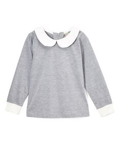 Another great find on #zulily! Gray & White Peter Pan Collar Top - Infant, Toddler & Girls #zulilyfinds