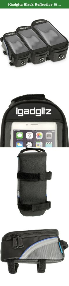 25b7447cf9f iGadgitz Black Reflective Strip Water Resistant Front Top Tube Pannier Bike  Frame Storage Bag with Mobile
