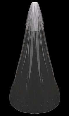 Wedding Veil with Scattered Crystals and Rhinestones Two Tier Standard Cut #weddingveil