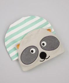 Take a look at this Raccoon & Green Stripe Beanie Set by Taggies on #zulily today!