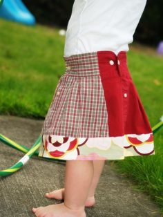 upcycled girls skirt from men's shirts