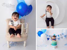 A baby is posing for photoshoot. One Year Old Baby, Baby Boy Photography, Blue Balloons, Children, Kids, Photoshoot, Poses, Babies, Chair