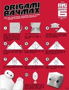 Use the traditional Japanese Art of Paper Folding to make your own Baymax!