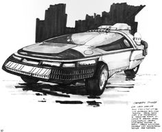 Blade Runner Corporate Spinner Sketch by Syd Mead