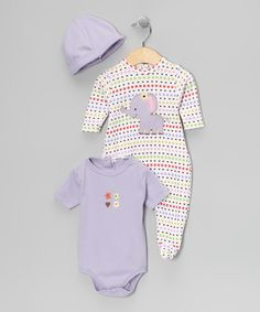 Take a look at this Purple Polka Dot Footie Set by Rumble Tumble on #zulily today!