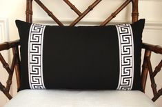 Black linen pillow cover with applied black and white g. Black linen pillow cover with applied black and white greek key trim. by drkdesigns on Etsy. Neutral Pillows, Black Pillows, Linen Pillows, Cotton Pillow, Decorative Pillows, Throw Pillows, Lumbar Pillow, Cute Cushions, Bed Sets