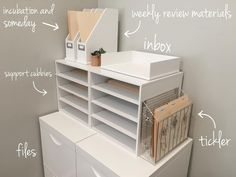 This little guideline from for creating a functional command center for paper work. is simple and awesome. There is a home… Home Office Space, Home Office Design, Home Office Decor, Office Organization At Work, Cubicle Organization, Paper Organization, Bathroom Organization, Office Ideas, Work Cubicle