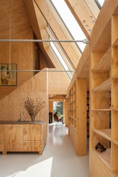 Love the design, skylights and that woodsy feel. with ・・・ Such a stunning project of a wooden house designed by the architects Lauren van Santen and Diederik de Konig! It is located in and photographed by Peter Tijhuis Timber Architecture, Architecture Design, Wooden House Design, Modern Wooden House, Plywood Interior, Wood Interiors, Interiores Design, Home Remodeling, Interior And Exterior