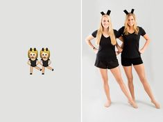 Grab your BFF and dress up as the dancing girls emoji. Dearest Emoji, We heart you. We heart you SO much that, well, we actually want to BE you for Halloween! Costumes Duo, 2 Person Costumes, Dynamic Duo Costumes, Friend Costumes, Diy Couples Costumes, Cute Costumes, Costume Ideas, Costume Emoji, 2 Person Halloween Costumes