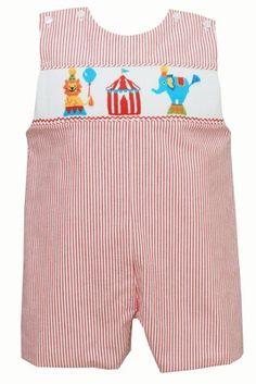 Anavini Velani Baby Boys Red Striped Seersucker Smocked Circus Tents Jon Jon