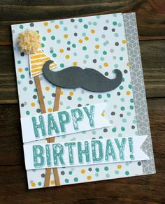 Awesome masculine card - Stampin' Up - mustache framelit