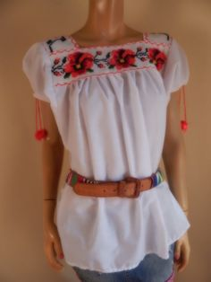 mexican top embroidered top vintage mexican top by stilettoRANCH
