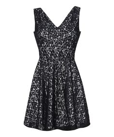 Love this Black Lace A-Line Dress by Mela London on #zulily! #zulilyfinds