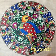 Madhubani Art, Madhubani Painting, Diy Wall Painting, Indian Folk Art, Indian Art Paintings, Plate Art, Plates On Wall, Art Drawings, Diy And Crafts
