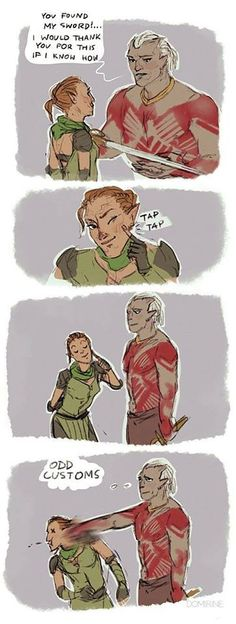 lol oh sten by domirine on deviantART Dragon Age Comics, Solas Dragon Age, Dragon Age Memes, Dragon Age Funny, Dragon Age 2, Dragon Age Origins, Dragon Age Inquisition, Dragon Age Characters, Fanart