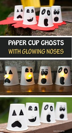 Paper cup ghosts with glowing noses - easy Halloween crafts for kids Paper cup ghosts with glowing noses - an easy Halloween craft for kids. They make adorable DIY Halloween decorations. Perfect for toddlers and older kids. Theme Halloween, Easy Halloween Crafts, Halloween Tags, Holiday Crafts, Halloween Decorations, Halloween Ghosts, Easy Crafts To Sell, Paper Crafts For Kids, Crafts For Teens