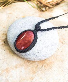 Red Jasper Macrame necklace, natural stone necklace, man necklace, Rustic, Boho, Surf, Beach, Macrame necklace, Passion, Heart, man pendant