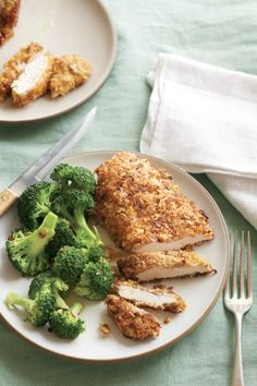 "Chicken with Mustard and Walnut Coating - From Williams-Sonoma Taste - ""Bread crumbs mixed with fragrant lemon zest, crunchy walnuts, spicy mustard and aromatic shallot form a crispy crust on chicken breasts and seal in the natural juices. Serve with steamed broccoli or wilted greens and rice for a simple, satisfying weeknight dinner."""