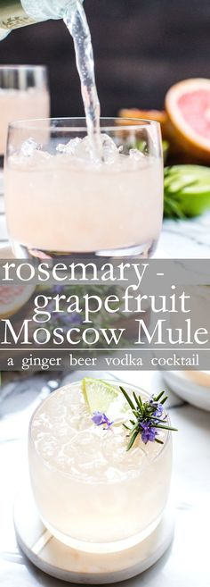 Rosemary grapefruit moscow mule a flavorful refreshing and easy cocktail recipe to pull together! happyhour moscowmule americanmule adultbeverages cocktail grapefruit recipe vodkacocktails sour apple tequila cocktail the lucky shamrock drinks celebrating Refreshing Cocktails, Easy Cocktails, Cocktail Drinks, Fun Drinks, Alcoholic Drinks, Beverages, Simple Cocktail Recipes, Ginger Cocktails, Cocktail Parties