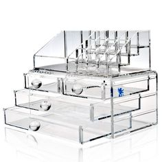H&S Make-up Organiser Acrylic Clear Makeup Cosmetic Box Storage Case - 4 Drawers Clear Makeup Organizer, Acrylic Organizer, Makeup Organization, Make Up Organiser, Organiser Box, Jewelry Rack, Jewellery Display, Free Makeup, Makeup Tips