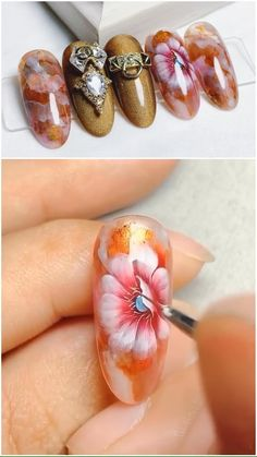 All these nail designs are as easy as they are cute. If you're always looking for options and innovative designs, nail art designs are a good way to show off your individuality as well as to be original. Nail Art Hacks, Gel Nail Art, Nail Art Diy, Diy Nails, Cute Nails, Nail Nail, Nail Art Fleur, Nail Art Techniques, Nail Design Video