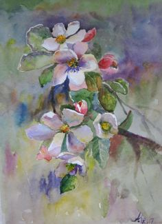Apple Blossoms Watercolor Painting Original Watercolour Flowers blossom painting Blooms florals painting home decor  Wall art Spring flowers by ArtannaStore on Etsy