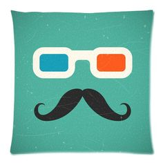 Home Decor Personalized Hipster Mustache And 3D Cinema Glasses Zippered Throw Pillow Cover Cushion Case 18x18 (one side) by Cushion Case