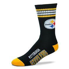 NFL 4 Stripe Deuce Crew Socks Mens-Pittsburgh Steelers-Size Large(10-13)