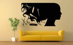 Wall Room Decor Art Vinyl Decal Sticker Mural Girl Hair Salon Large Big AS406 #3M