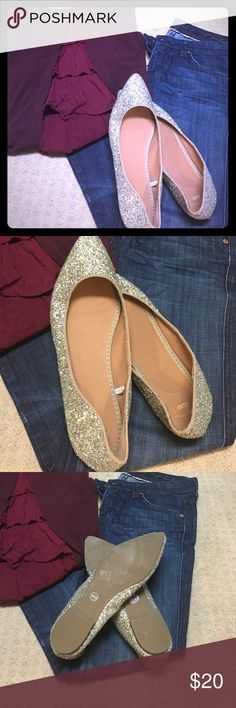 Sparkly Gap flats These are brand new, size 10, Gap flats. Every girl needs a little glitter in their life! GAP Shoes Flats & Loafers