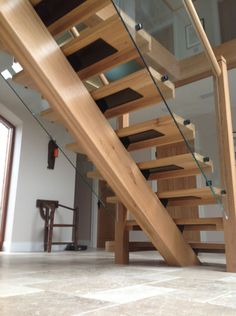 Oak Spine Stairs with Glass Balustrade and Landing - Custom Built Stairs - Bespoke , Custom Built Oak Spine Stairs