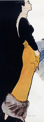 Fashion illustration by René Gruau, 1947, Jacques Fath.