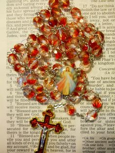 Divine Mercy TwoTone Beads Rosary by HillairCreations on Etsy, $34.00