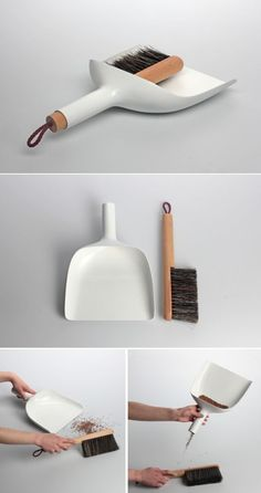 Sweeper and dustpan by Jan Kochanski, I wish it was made from steel and not injection-molded plastic…