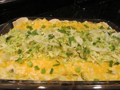CHICKEN AND CANNELLINI BEAN ENCHILADAS ~ My oldest sister says I'm overly fond of using cheese in my recipes. She's right, but it's one of those foods I find hard to resist and, since my guys have high metabolism (yes, makes me sick too), I get no complaints from them. Though this dish was a hit, I've made adjustments to the recipe to improve on it (could have used more chicken).