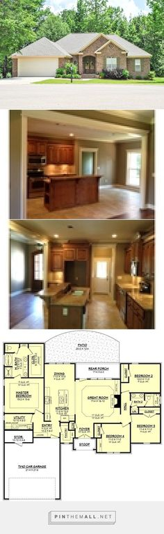 Traditional Style House Plan - 4 Beds 2 Baths 1875 Sq/Ft Plan #430-87 - created via https://pinthemall.net