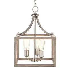 Home Decorators Collection Boswell Quarter Collection 3-Light Brushed Nickel Pendant with Painted Weathered Gray Wood Accents