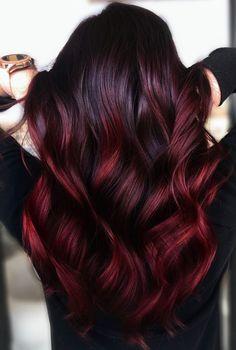 Red Hair Inspo, Hair Color For Black Hair, Cool Hair Color, Dark Hair With Red, Wine Red Hair Color, Dark Red Hair Dye, Dark Red Ombre, Hair Color Balayage, Hair Highlights