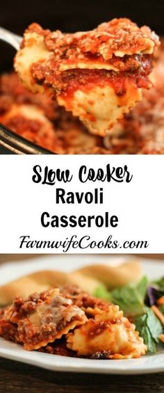 Are you looking for a new crock pot recipe that will be a big hit with the family? This Slow Cooker Cheesy Ravioli Casserole is a family favorite! (Favorite Family Crock Pot)
