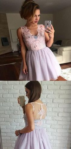 V-Neck Lace Top Short A-Line Tulle Homecoming Dresses, Fall Formal Dresses, Prom Dresses Long Modest, Light Pink Bridesmaid Dresses, Formal Dresses With Sleeves, Prom Dresses For Teens, Formal Dresses For Weddings, Summer Dresses, Elegant Dresses, Sexy Dresses