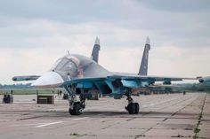 Russian military jet parked at an airbase in Belarus