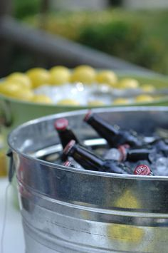 Reception drinks. I love the galvanized tubs of ice. Thinking about serving mainly canned drinks out of them, and maybe a few other options like Lemonade, Tea, and Water in dispensers.
