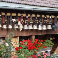 Beautiful cow bells hanging on the side of the barn...just waiting for the next walk to the alps. Habkern, Switzerland.