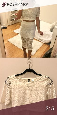 White two piece lace dress set! Two piece white lace dress. Quarter length sleeves. Mini skirt with a midi lace overlay. Very pretty and romantic 😊 Dresses Midi