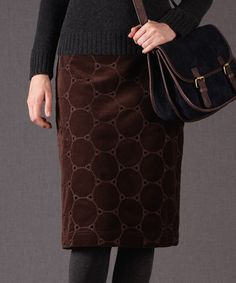 Take a look at this Dark Brown Circle Velvet Pencil - Women by Boden on #zulily today!