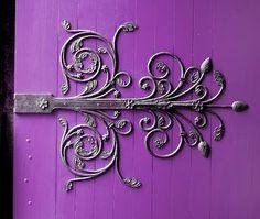 Fancy Iron Work on a Purple Door Purple Door, Purple Haze, Shades Of Purple, Knobs And Knockers, Cool Doors, Door Hinges, Door Knobs, Window Hinges, Iron Work